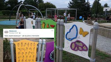 Na sensorycznym placu zabaw umieszczono tablicę z niewłaściwym językiem