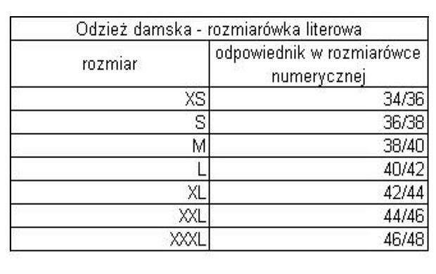 dorothy perkins curve tabela rozmiarów