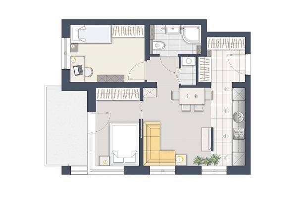 Jak wydzielić dwie sypialnie w 47-metrowym mieszkaniu?