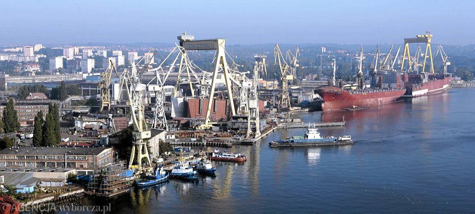 Panorama Szczecina. Widok z Elewatora Ewa na tereny stoczniowe