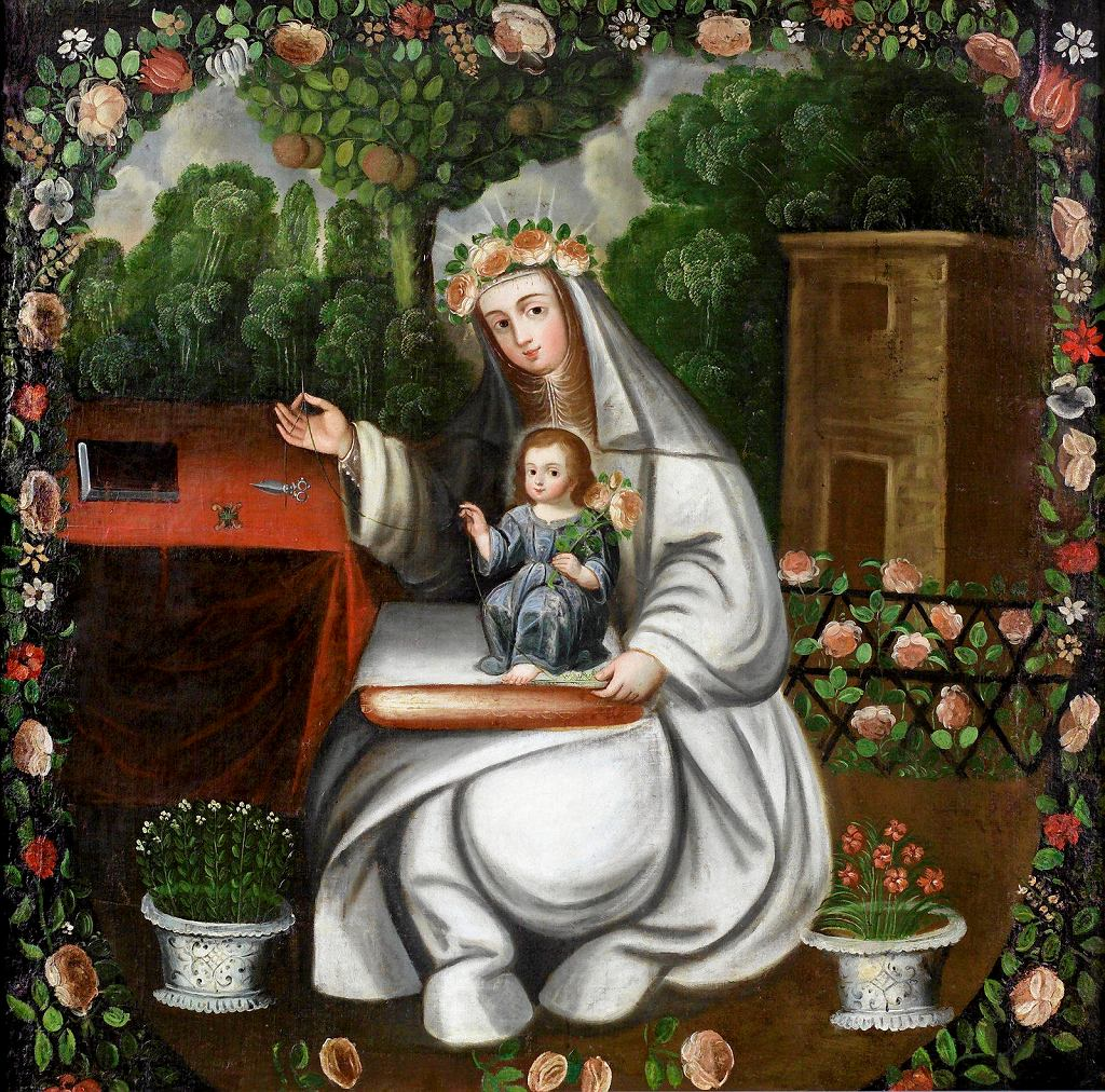 Święta Róża z Limy haftująca z Dzieciątkiem Jezus  autor nieznany, XVIII w . Muzeum Narodowe w Warszawie. Wystawa 'Sztuka wicekrólestwa Peru'    / COLECCIÓN BARBOSA-STERN
