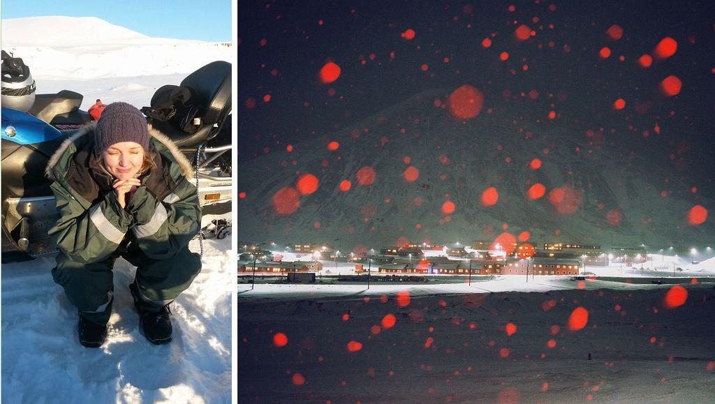 Po lewej: Dominika Gęsicka (archiwum prywatne); po prawej: Longyearbyen (fot. Dominika Gęsicka / zgoda na jednorazowe wykorzystanie w Weekend.Gazeta.pl)
