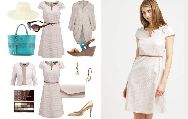 ca2430ecd3713 Beżowa sukienka w 3 odsłonach - zestawy na różne okazje