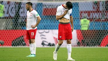 MŚ 2018. Polska - Kolumbia. Robert Lewandowski i Maciej Rybus