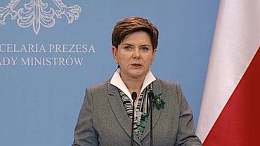 Premier Szydło podczas wystąpienia we wtorek