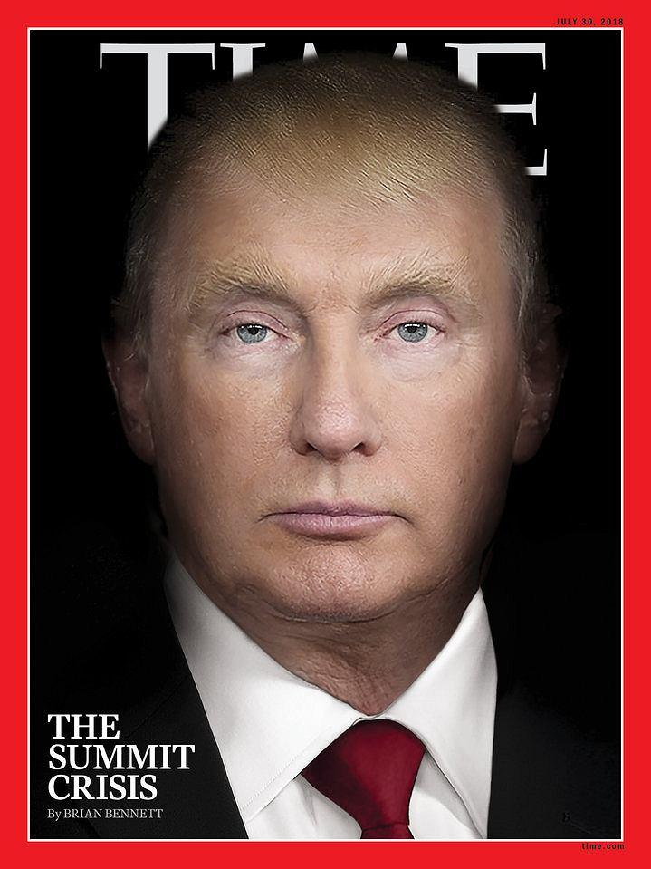 Okładka nowego numeru tygodnika 'Time': portrety Trumpa i Putina zlane w jeden