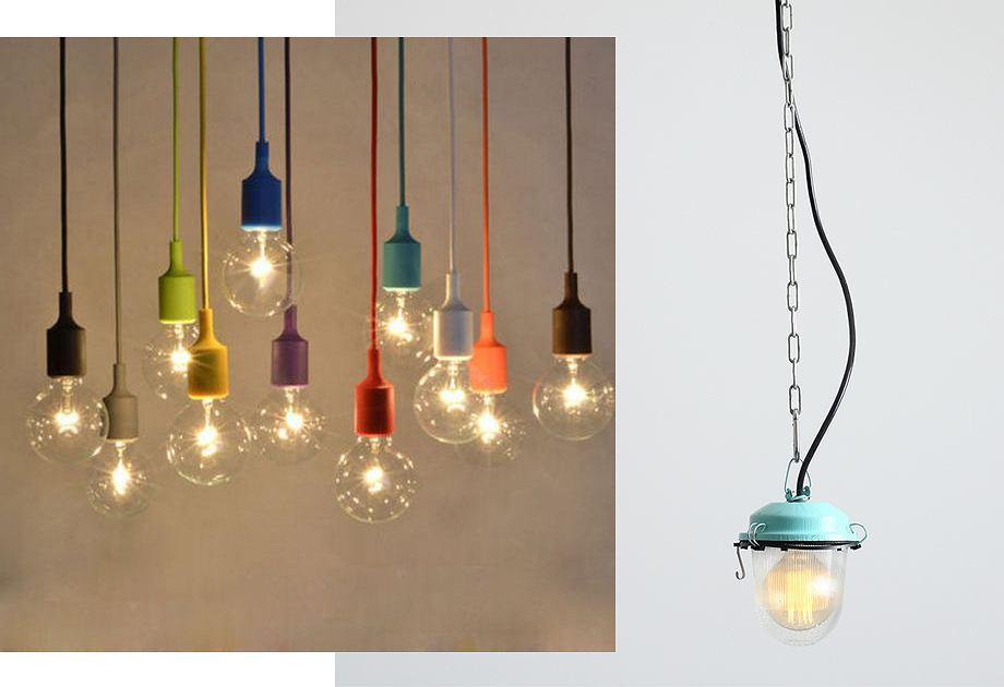Kolorowe lampy w stylu industrialnym
