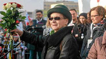 Danuta Wałęsa na wiecu w obronie męża