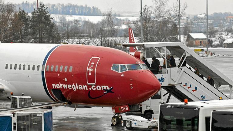 Samolot linii Norwegian na lotnisku w Balicach - zdjęcie ilustracyjne
