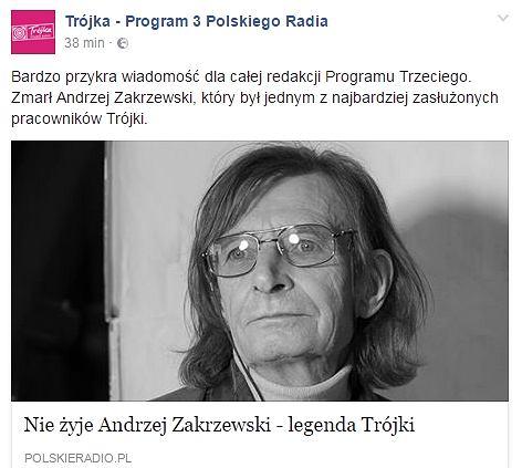 Informacja o śmierci Andrzeja Zakrzewskiego na stronach radiowej Trójki
