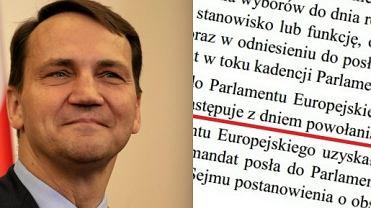 """""""Decyzja"""" Sikorskiego ws. mandatu Dudy w PE. Rzecznik: Wyga�ni�cie nast�puje..."""