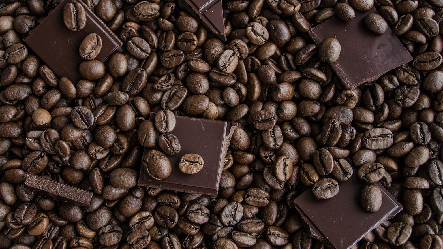 Ziarna kawy i czekolada. Zdjęcie ilustracyjne