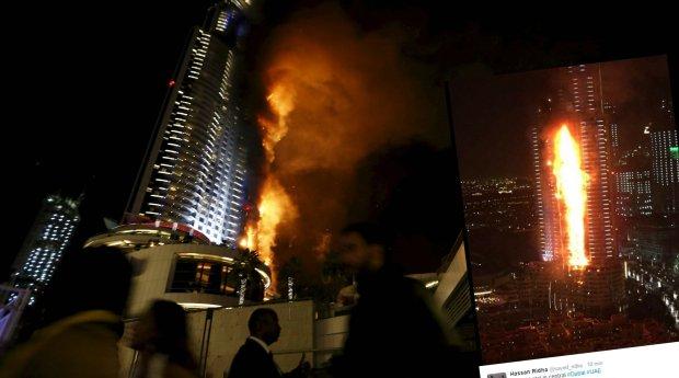 Po�ar wie�owca w Dubaju