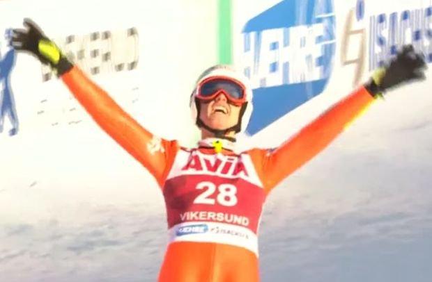 Andrzej Stękała po skoku na 235. metr