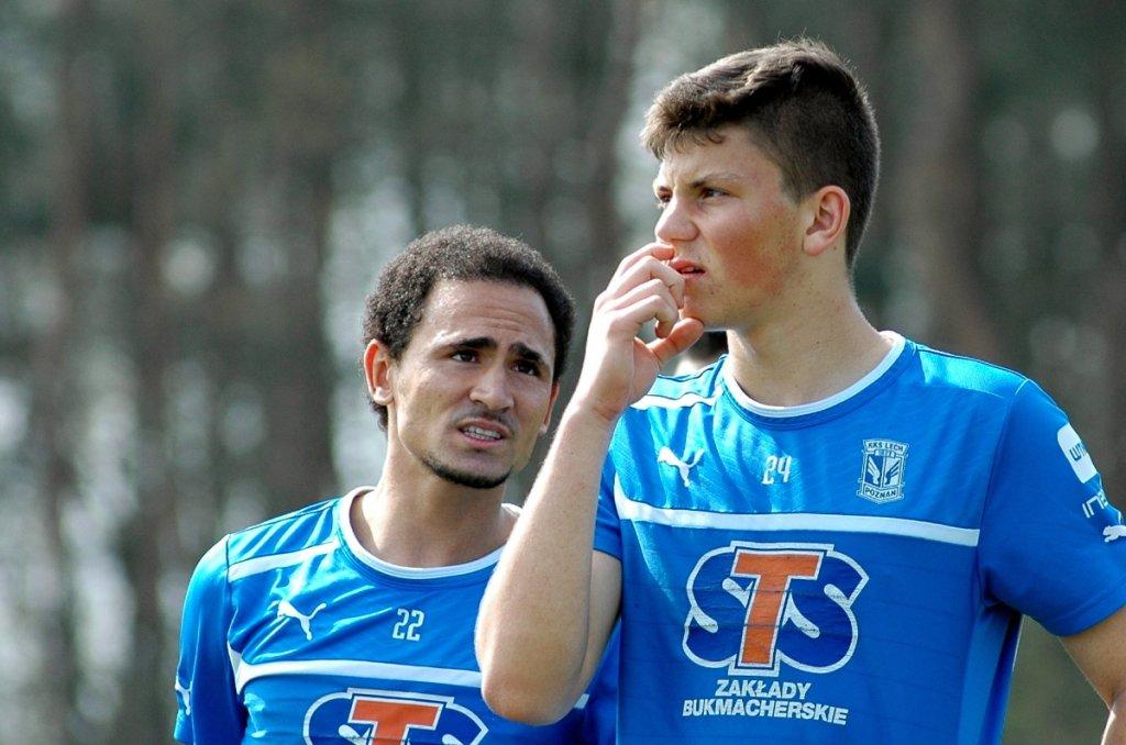 Trening Lecha Poznan. Dawid Kownacki i Daylon Claasen