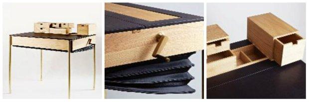 Secret Desk (2012) Prosta, geometryczna forma i szlachetne materiały nawiązują do stylu art déco. Po wprawieniu korbki w ruch nadstawka z szufladkami chowa się w skórzanej harmonijce. Rozsuwany blat kryje wewnątrz mebla liczne skrytki i schowki.