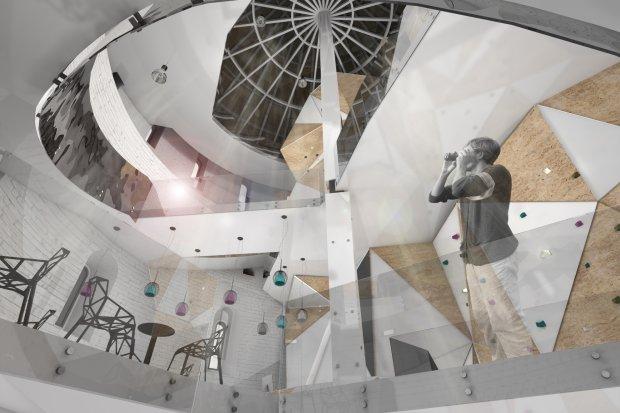 Pierwsza kondygnacja - kawiarnia z widokiem na ścianę wspinaczkową