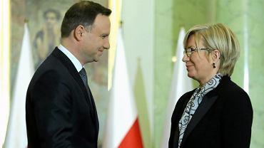 Sędzia Julia Przyłebska podczas zaprzysiężenia przez prezydenta Dudę na sędziego Trybunału Konstytucyjnego w 2015 roku
