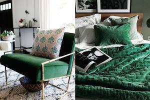 Butelkowa zieleń we wnętrzach - fotele, tekstylia i dodatki