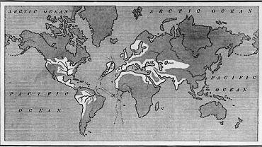 Położenie Atlantydy i zasięg jej imperium na mapie z książki 'The Antediluvian World' (Świat przed Potopem), którą wydał w 1882 r.  amerykański kongresmen z Minnesoty Ignatius Donelly (1831-1901)  Napisał o Atlantydzie