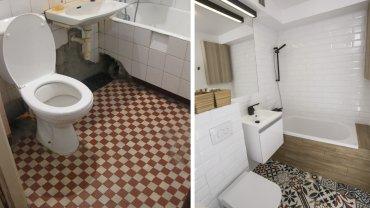 Łazienka przed metamorfozą i po