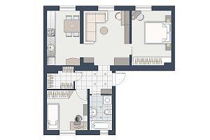 Trzypokojowe mieszkanie dla czteroosobowej rodziny