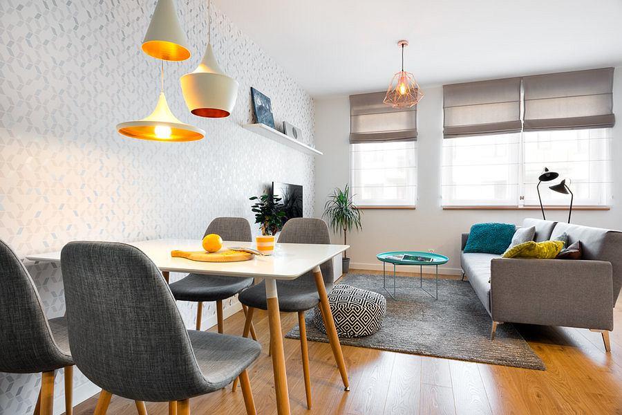Salon w skandynawskim stylu.