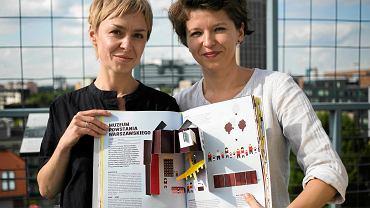 """Agnieszka Szulejewska (z lewej) z Instytutu S. Starzyńskiego i architektka Marlena Happach prezentują książkę """"Architekturki"""""""