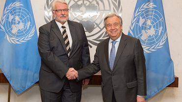Witold Waszczykowski i Antonio Guterres (sekretarz ONZ)