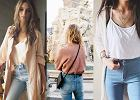 Jeansy z wysokim stanem w pastelowych stylizacjach
