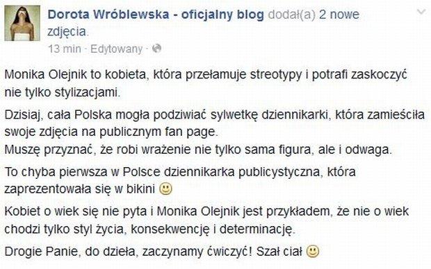 Wpis na profilu Doroty Wróblewskiej