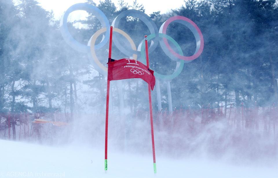 Zimowe Igrzyska Olimpijskie. Slalom gigant kobiet odwołano z powody silnego wiatru. Pjongczang, Korea Południowa, 12 lutego 2018