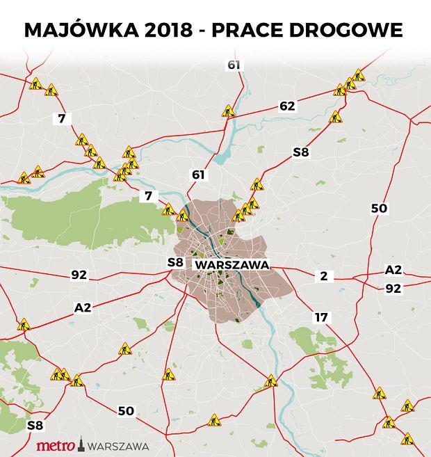 Remonty na drogach wylotowych z Warszawy