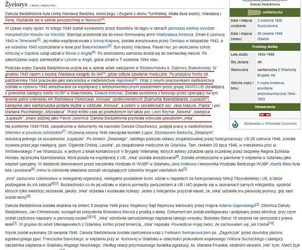 Strona Wikipedii poświęcona Danucie Siedzikównej
