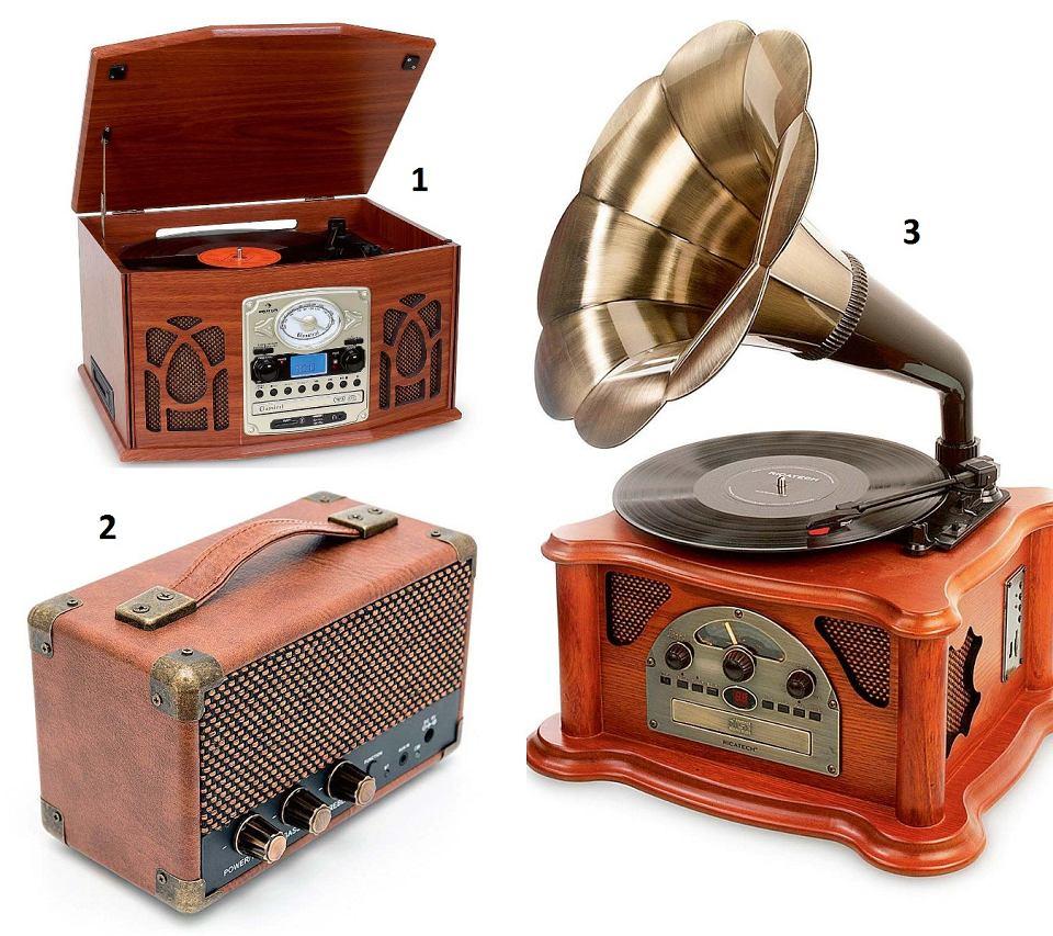 1. NR-620, multimedialny odtwarzacz z CD-playerem, radiem, wejściem USB i SD, gramofonem i magnetofonem kasetowym, drewniana obudowa, 647,99 zł, electronic-star.pl. 2. Przenośny odtwarzacz na akumulator RETRO WESTWOOD MINI SPEAKER, Bluetooth, obudowa ze sztucznej skóry, 323 zł, muziker.pl. 3. Gramofon RETRO MUSIC CENTER RMC350 odtwarza płyty winylowe i pliki MP3, ma radio, wejście USB i gniazdo na karty pamięci SD, drewniana obudowa, 929 zł, muziker.pl