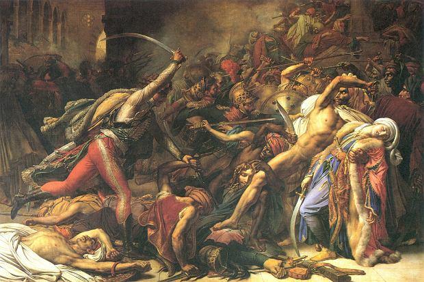 'Powstanie w Kairze', obraz Anne-Louisa Girodeta de Roussy-Triosona z 1808 r. Rebelia przeciw francuskim okupantom wybuchła już dwa miesiące po zwycięskiej dla Napoleona bitwie pod piramidami, do której doszło 21 lipca 1798 r. Egipcjanie atakowali grupy żołnierzy z zaskoczenia, zadając im dotkliwe straty.