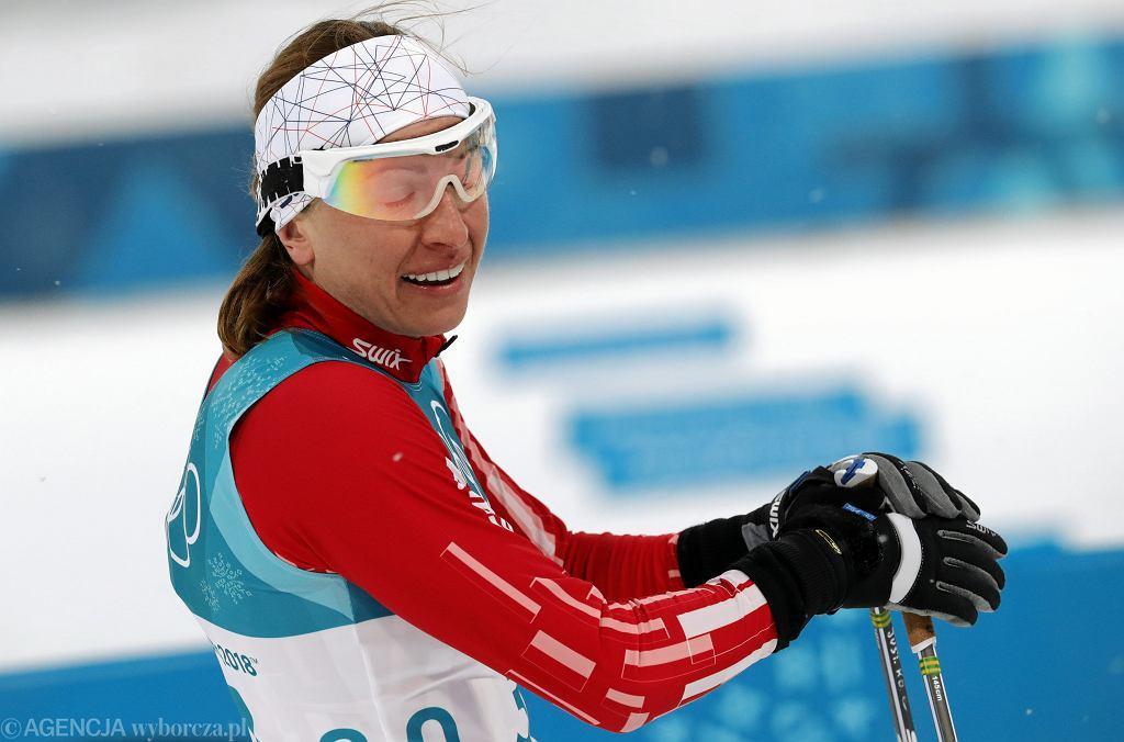 Justyna Kowalczyk na mecie eliminacji biegu sprinterskiego. XXIII Zimowe Igrzyska Olimpijskie, Pjongczang, Korea Południowa, 13 lutego 2018