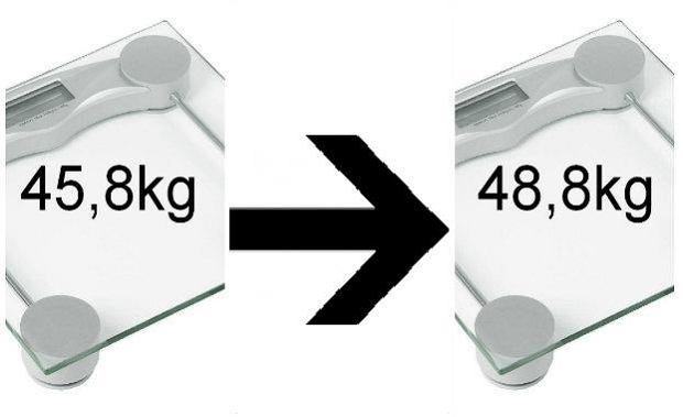mój pierwszy cel - przytyć 3 kilogramy