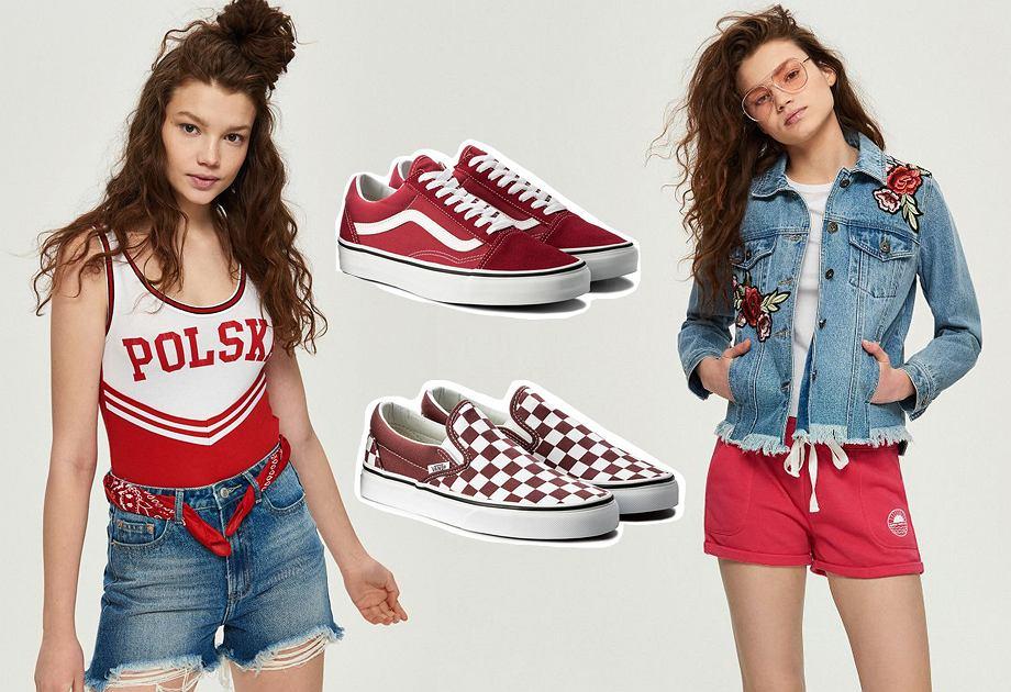Sportowe ubrania na mundial - bluzka z napisem Polska, czerwone szorty i buty Vans