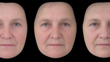 'Uśrednione' komputerowo twarze matek, które miały 1-2 dzieci (po lewej), 4-5 dzieci (w środku) i 7-9 dzieci (po prawej). Pokazywano je do oceny uczestnikom badania