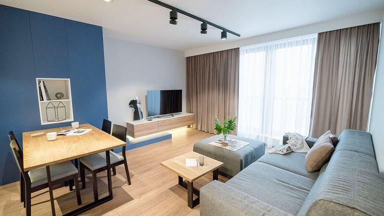 W salonie ograniczono liczbę mebli do minimum. Dzięki temu wnętrze jest przestronne.