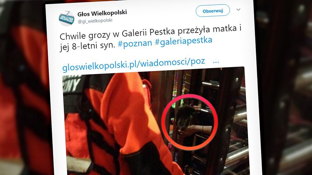 Galeria Pestka, Poznań - głowa 8-latka utknęła w obrotowej bramce