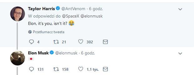 Odpowiedź Elona Muska na Twitterze