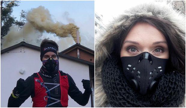Biegacze w maskach antysmogowych