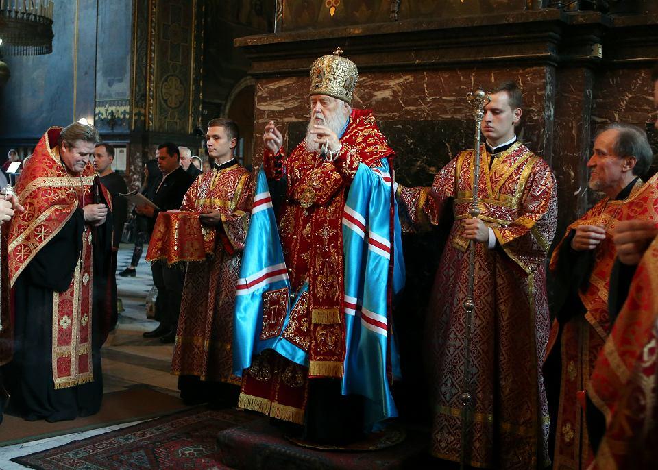 Patriarcha Filaret, przywódca Ukraińskiej Cerkwi Prawosławnej Patriarchatu Kijowskiego podczas nabożeństwa w soborze św. Włodzimierza w Kijowie, 11 października 2018 r.