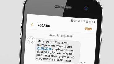Ministerstwo Finansów rozsyłało do przedsiębiorców smsy przypominające o obowiązku przesłania plików JPK_VAT w terminie do 26.02.2018.