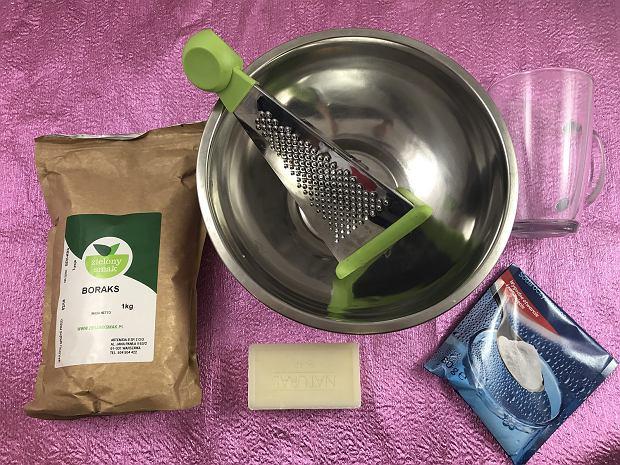 składniki potrzebne do przygotowania proszku do prania