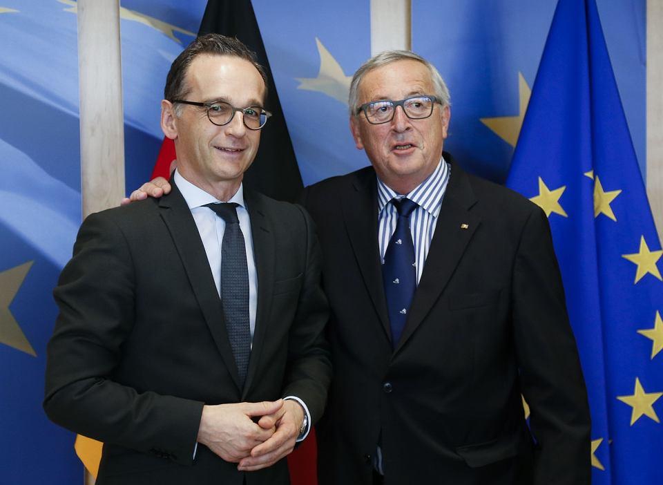 Szef niemieckiego MSZ Heiko Maas i przewodniczący Komisji Europejskiej Jean-Claude Juncker