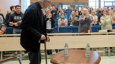 6 października 2017, ks. Adam Boniecki podczas spotkania na Wydziale Nauk Politycznych i Dziennikarstwa Uniwersytetu Adama Mickiewicz w Poznaniu