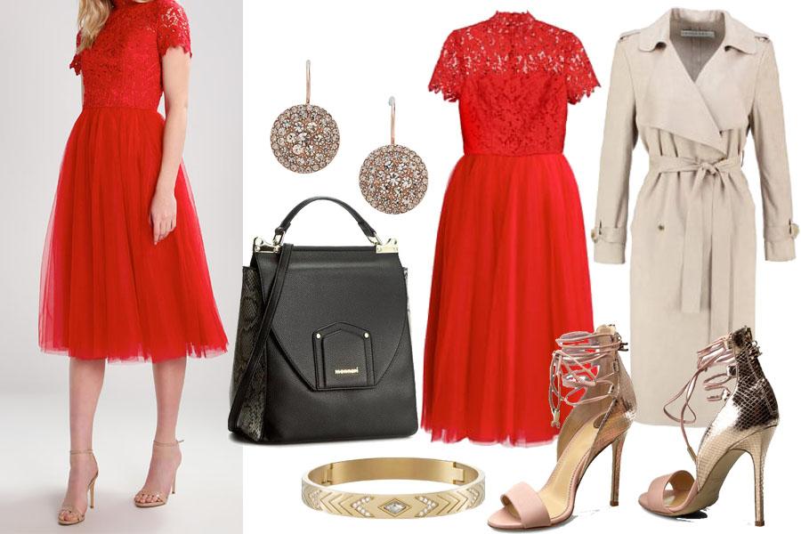 stylizacja na wesele z czerwoną sukienką / zalando.pl / materiały partnera